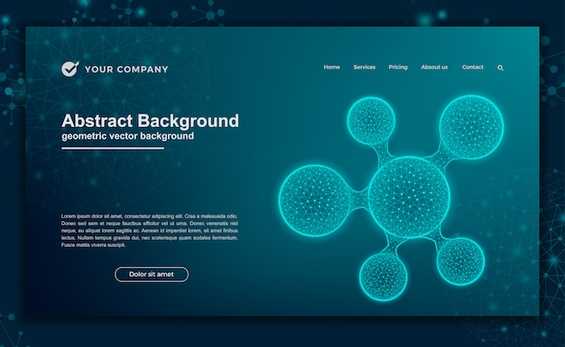Wetenschap, futuristische achtergrond voor websiteontwerp of landingspagina Premium Vector