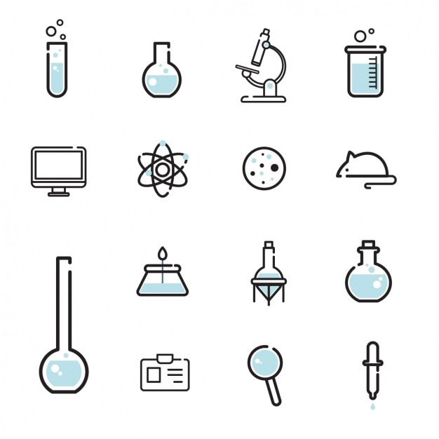 Wetenschap iconen collectie Gratis Vector