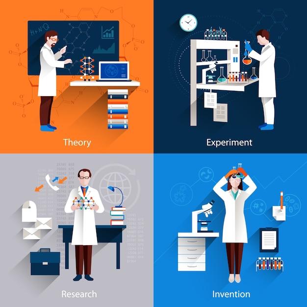 Wetenschap icons set Gratis Vector