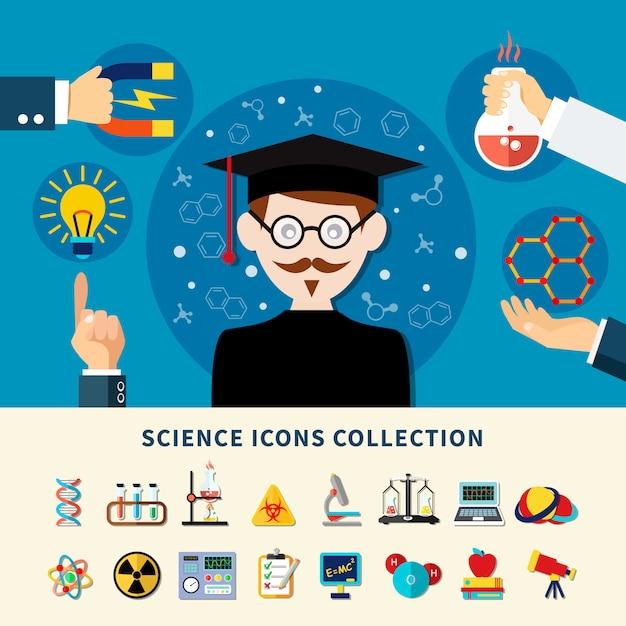Wetenschap pictogrammen collectie Gratis Vector