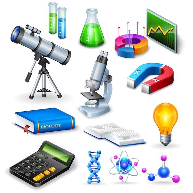 Wetenschap realistische pictogrammen instellen Gratis Vector