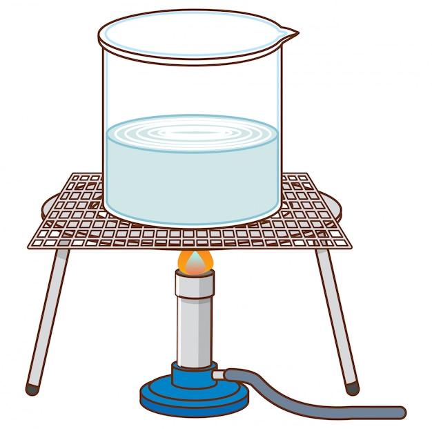 Wetenschappelijk experiment met kokend water op het rek Gratis Vector