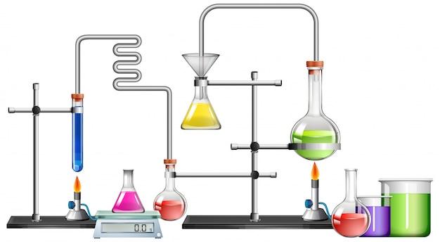 Wetenschappelijk laboratorium met veel apparatuur Gratis Vector