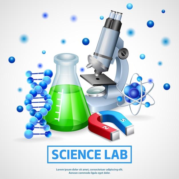 Wetenschappelijk laboratorium ontwerpconcept Gratis Vector