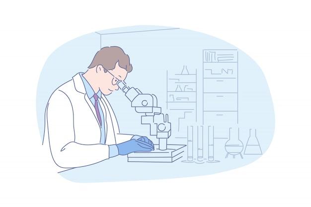 Wetenschappelijk onderzoek met microscoopillustratie Premium Vector