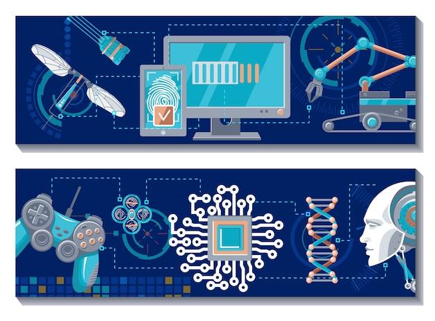 Wetenschappelijke robotachtige horizontale banners Gratis Vector