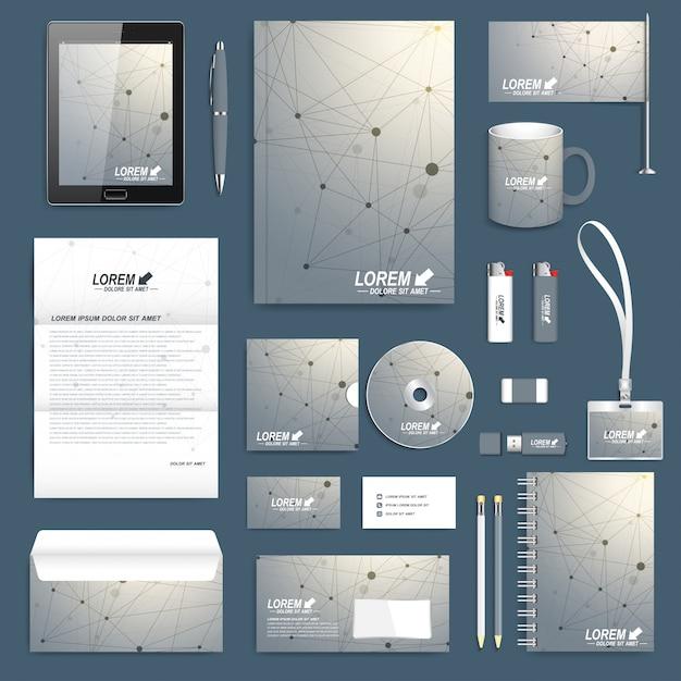 Wetenschappelijke set huisstijlsjabloon. modern briefpapiermodel. geometrische grafische achtergrond molecuul en communicatie. merkontwerp voor bedrijven, wetenschap, geneeskunde en technologie. Premium Vector