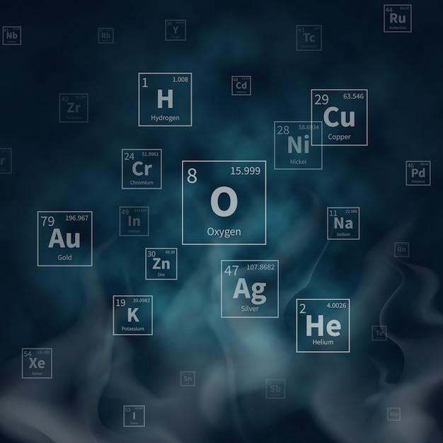Wetenschappelijke vectorachtergrond met chemische elementsymbolen en witte rook Premium Vector