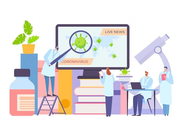 Wetenschapper die coronavirus live nieuws op de illustratie van het computerscherm bekijkt. dokter ontdek de laatste informatie over nieuwe ziekte Premium Vector