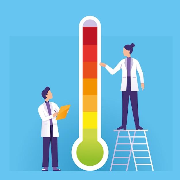 Wetenschapper die de thermometer van de hete en koele weersomstandigheden controleert Premium Vector