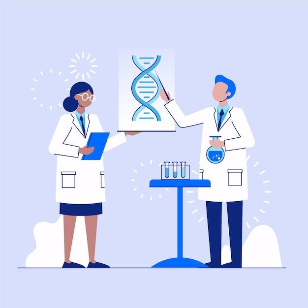 Wetenschapper die dna-moleculen houdt Gratis Vector