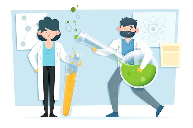 Wetenschapper illustratie werken Gratis Vector