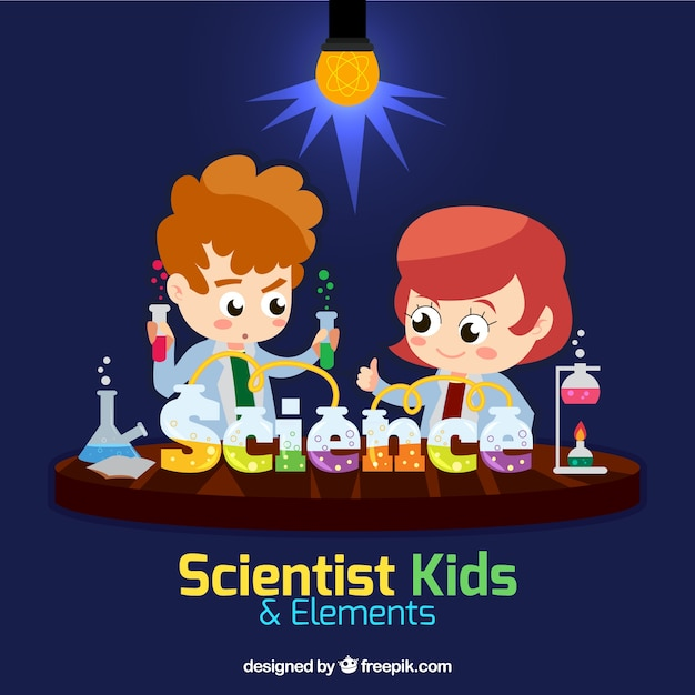 Wetenschapper kinderen in een lab Gratis Vector