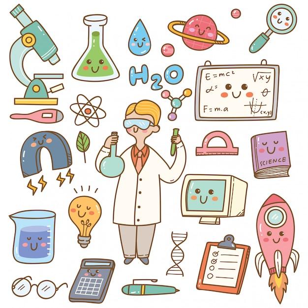 Wetenschapper met laboratoriumapparatuur cartoon Premium Vector