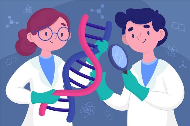 Wetenschappers die dna-moleculenillustratie houden Gratis Vector