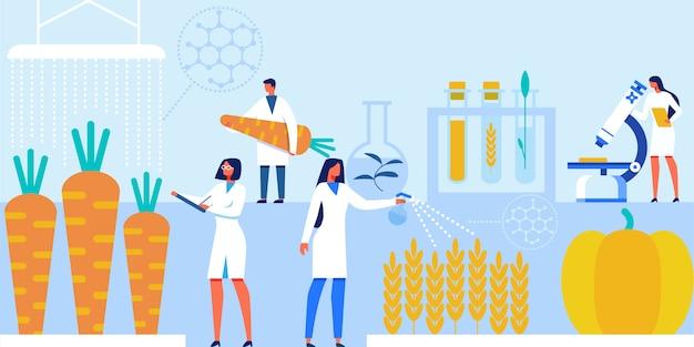 Wetenschappers werken met kunstmatige voedingsproducten. Premium Vector