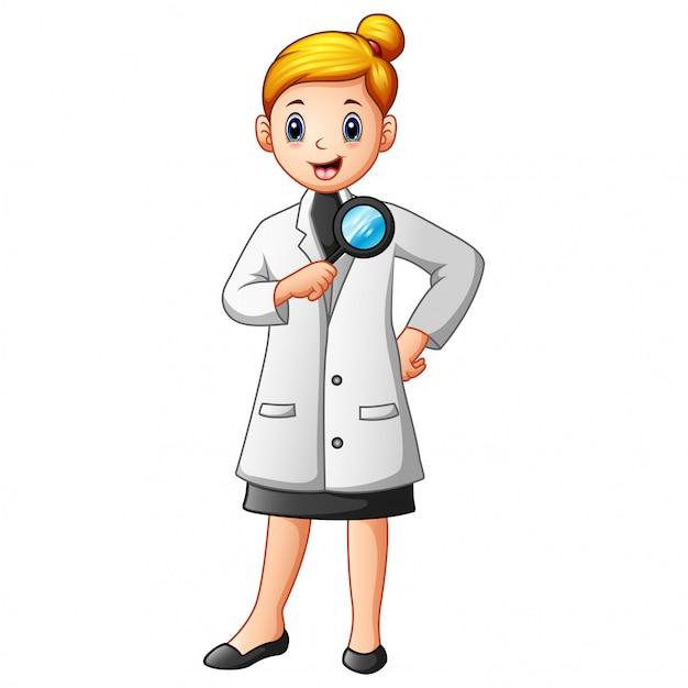 Wetenschappersvrouw die in laboratoriumlagen een vergrootglas houden Premium Vector