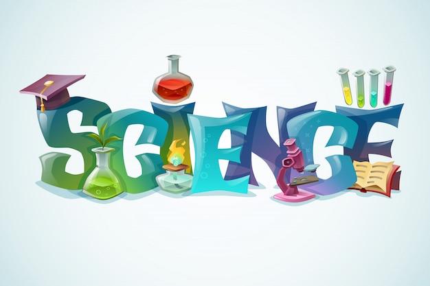Wetenschapsaffiche met decoratieve inscriptie Gratis Vector
