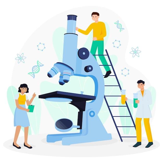 Wetenschapsconcept met microscoop Premium Vector