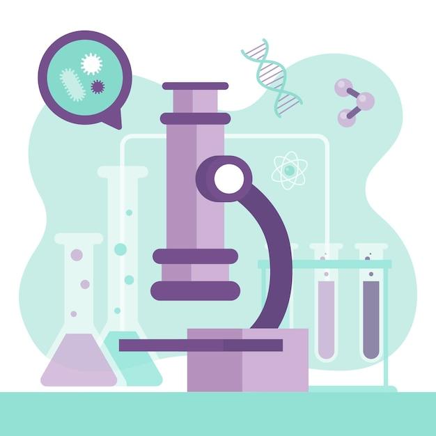Wetenschapsconcept met microscoop Gratis Vector
