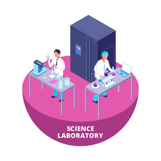 Wetenschapslaboratorium 3d isometrisch onderzoekslaboratorium met laboratoriumapparatuur en wetenschappers Premium Vector