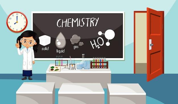 Wetenschapsleraar staat voor het klaslokaal Gratis Vector