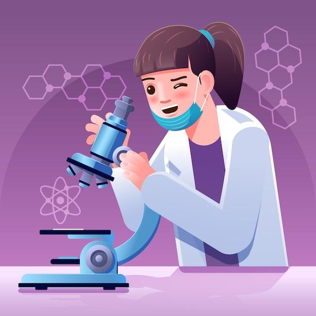 Wetenschapswoord met geïllustreerde microscoop Gratis Vector