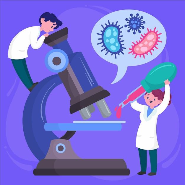 Wetenschapswoord met microscoop geïllustreerd ontwerp Gratis Vector