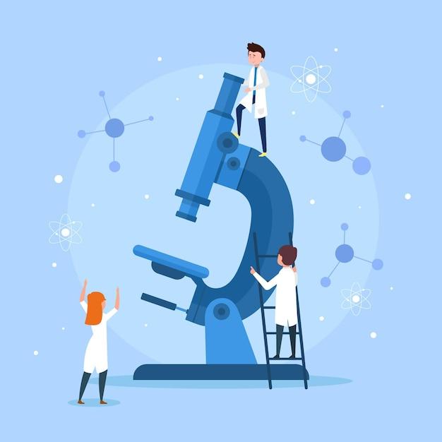 Wetenschapswoord met microscoopstijl Gratis Vector