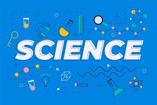 Wetenschapswoord op blauw concept als achtergrond Gratis Vector