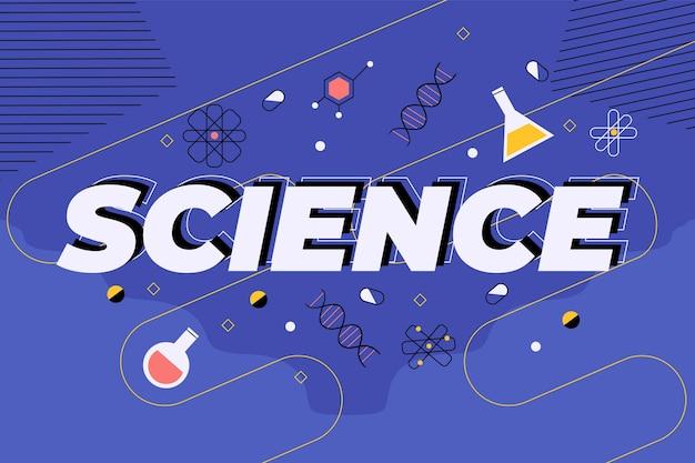 Wetenschapswoord op donkerblauw concept als achtergrond Gratis Vector