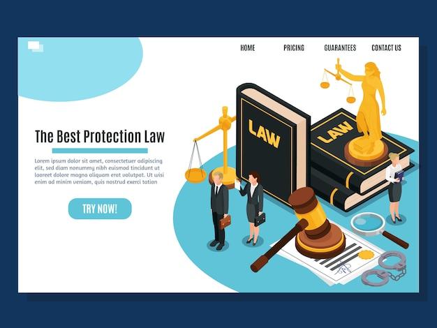 Wetsbescherming gerechtelijke en justitie rechtbanken openbare diensten home page isometrische samenstelling website ontwerp illustratie Gratis Vector
