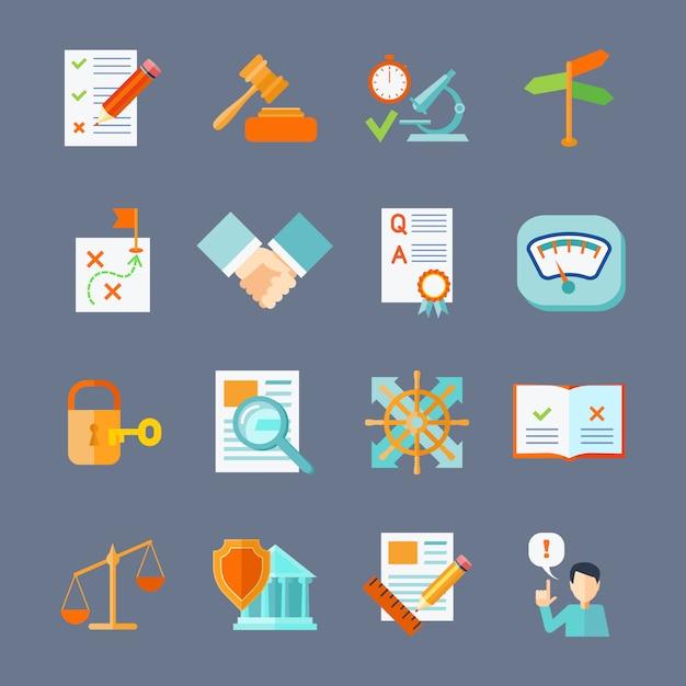 Wettelijke naleving deal bescherming en auteursrecht regulering plat pictogrammen instellen Gratis Vector