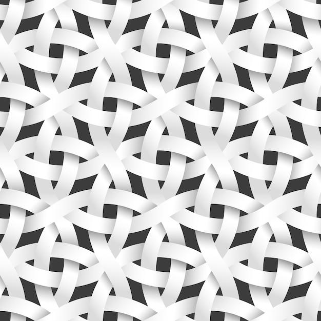 Weven afgeronde papieren strepen, wit naadloos patroon Premium Vector