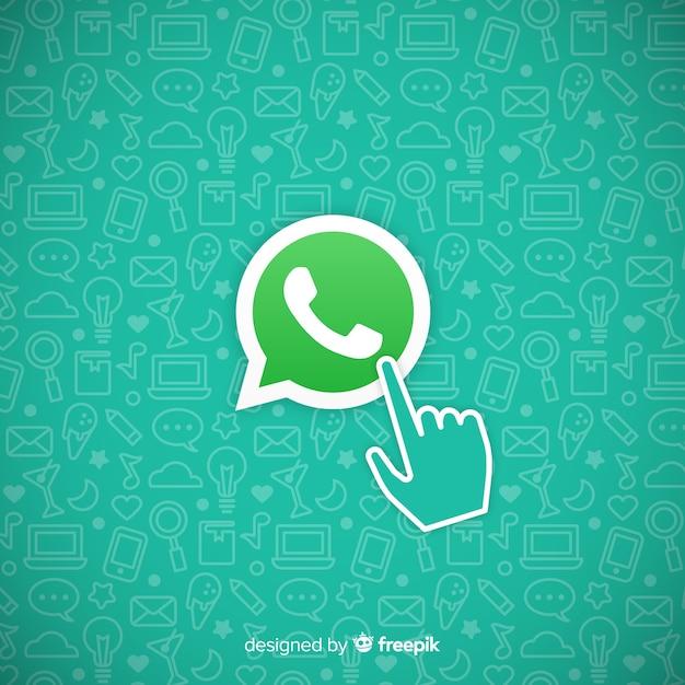 Whatsapp-pictogram met hand Gratis Vector