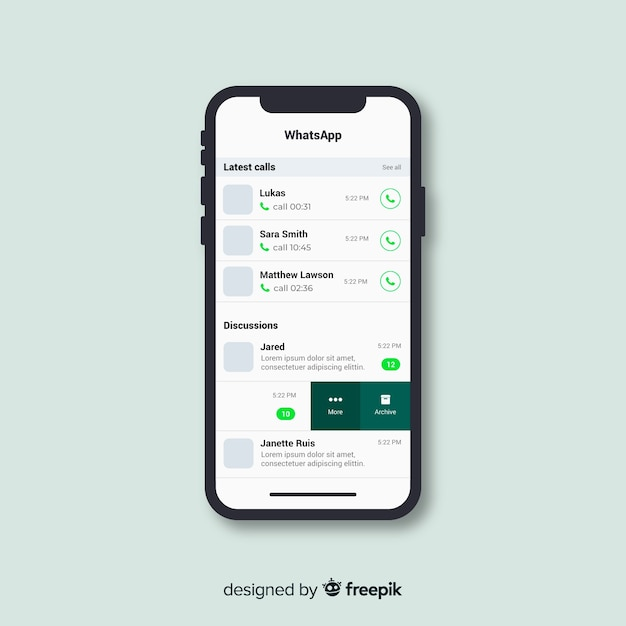 Whatsapp schermsjabloon Gratis Vector