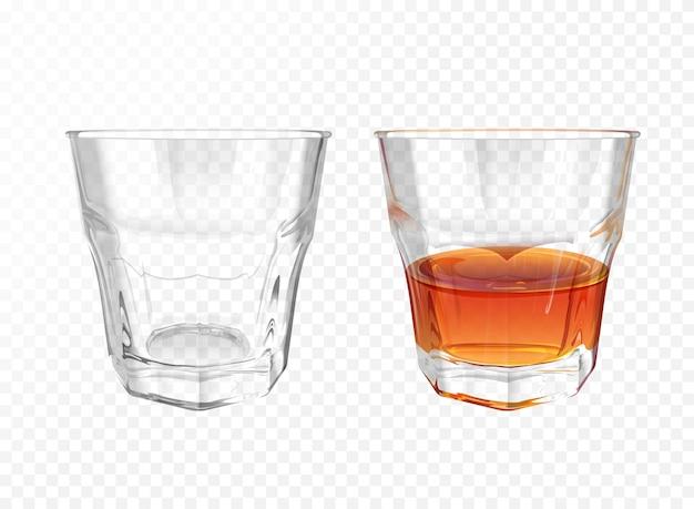 Whiskey-glas 3d illustratie van realistisch vaatwerk voor brandewijn of cognac en whisky Gratis Vector