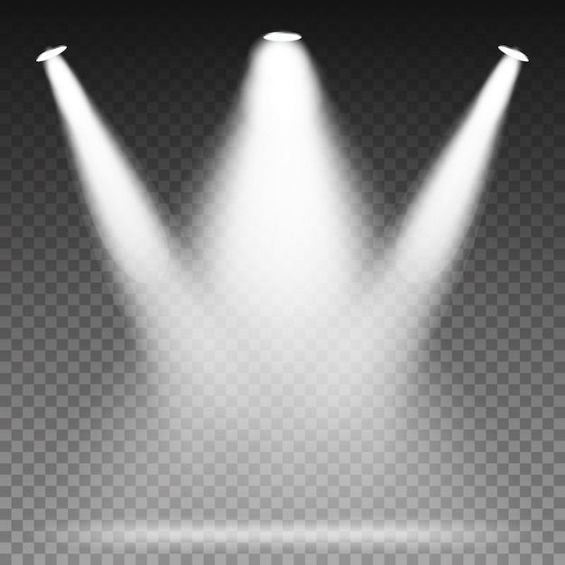 White beam lights-spots Premium Vector