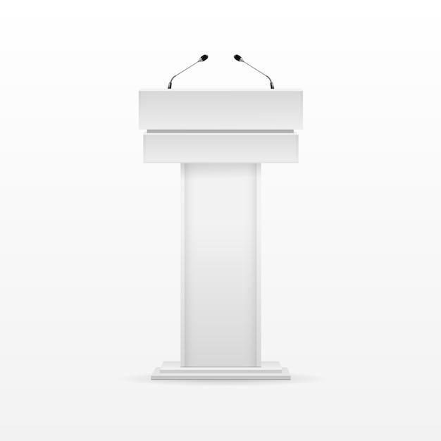 White podium tribune rostrum stand met microfoon Premium Vector