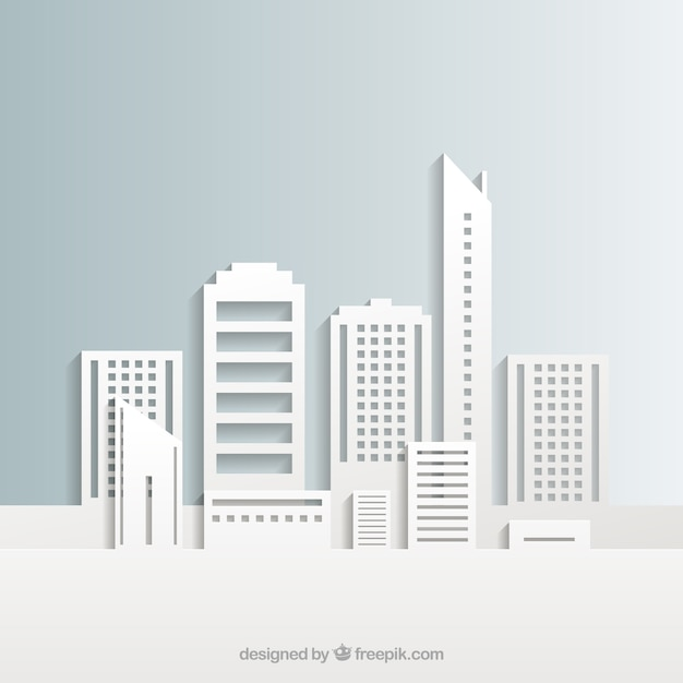 White stadsgebouwen Gratis Vector