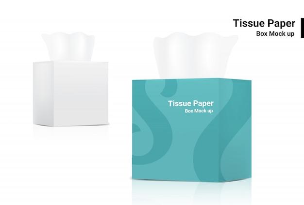 White tissue box mock up realistische productverpakking op witte achtergrond Premium Vector