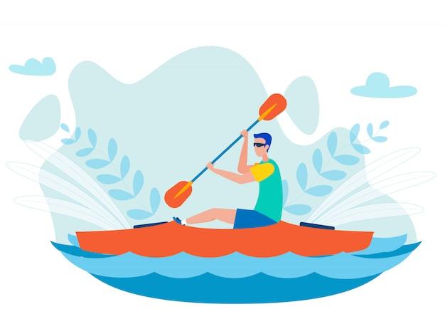 Whitewater kayaking sport platte vectorillustratie Premium Vector