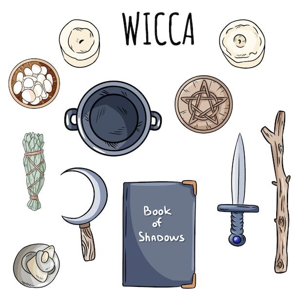 Wicca doodles set. verzameling magische voorwerpen van hekserij op altaar voor occulte rituelen. Premium Vector
