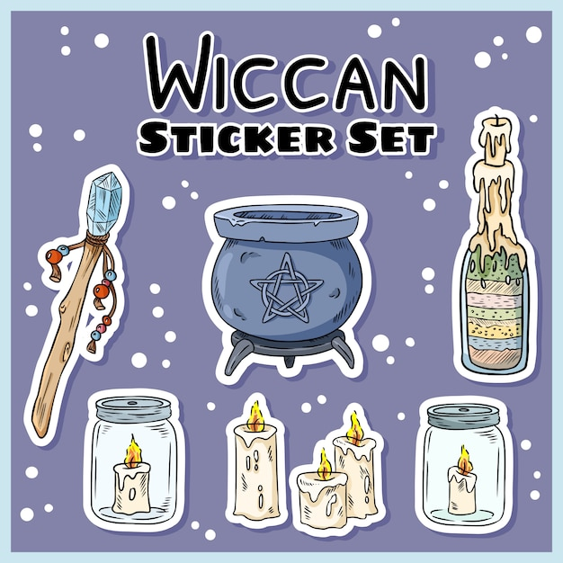 Wiccan-stickers instellen Premium Vector
