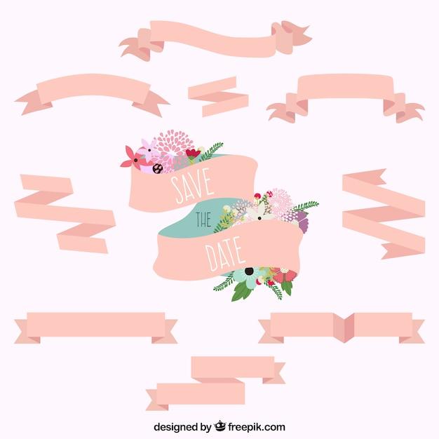 Wieden roze linten collectie Gratis Vector