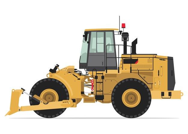 Wiel bulldozer zijaanzicht Premium Vector