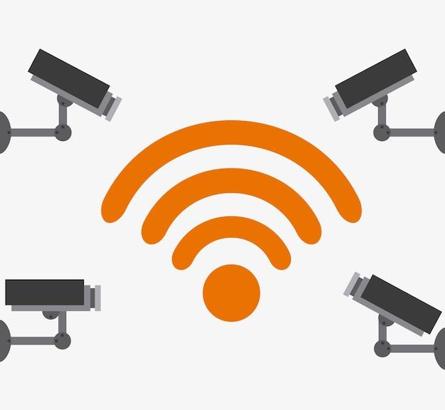Wifi-verbinding ontwerp, vector illustratie eps10 afbeelding Premium Vector