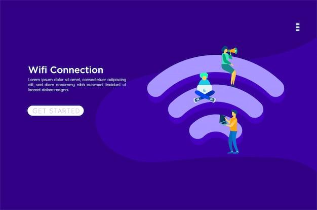 Wifi vlakke afbeelding Premium Vector