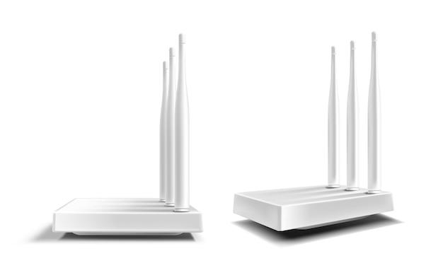 Wifirouter, draadloze breedbandmodem met antennes die op wit worden geïsoleerd Gratis Vector