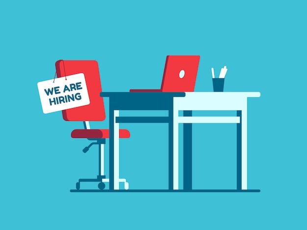 Wij huren werkgelegenheidsteken op vacante werkplaats aan. Premium Vector